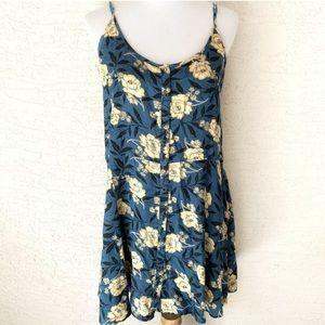 Kimchi Blue Dress Large Blue Floral Button Front